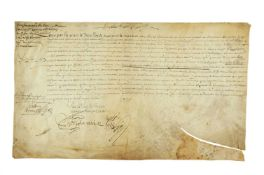 Charter of Louis XIV of France for the Comte de la Rocheguyon, signed by the monarch himself