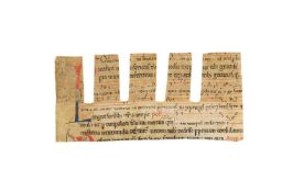 Small cutting from a noted Missal, in Latin, manuscript on parchment