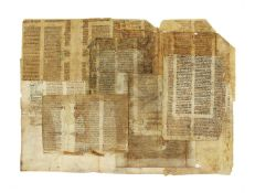 Leaf from the Statuta Synodalia of Cambrai, with a collection of leaves from legal manuscripts