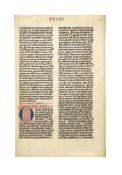 Leaf from a fine Bible, in Latin, decorated manuscript on parchment