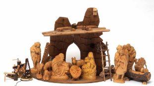 KrippeKrippenhaus mit zahlreichem Zubehör (Lagerfeuer, Leiter etc.). Dazu Maria, Josef und