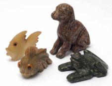 Vier TierfigurenHund, Frosch und zwei Fische. Verschiedene Halbedelsteine. H.5-10cm