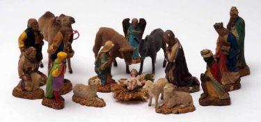 Weihnachtskrippe, um 1900Maria, Joseph, Jesuskind, Hl. Drei Könige, Kamel und Kamelführer, drei