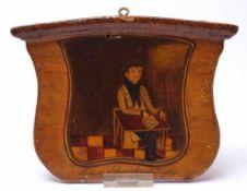 Stammtischschild, 1. Hälfte 19.Jhdt.Wappenschildförmig. Darauf in naiver, bäuerlicher Malerei Herr