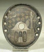 Metallplatte, Türkei, 19.Jhdt.Ovale Form, Ansicht einer Moschee unter Halbmond und Stern.