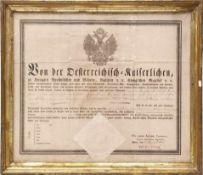 Reiseschutzbrief, dat. 1812Schutzbrief des Kaisers von Österreich mit großem Papiersiegel. In