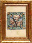 Initial, wohl 18.Jhdt.Feine, perspektivische Aquarellmalerei mit Blattgold auf Pergament. Aus