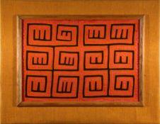 Mola, 1. Hälfte 20.Jhdt.Geometrische Motive. Auf Holzplatte montiert. 32x46cm.