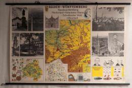 Schulkarte, 60er JahreKarte von Baden-Württemberg. Verlag B. Stockmann. Papier auf Leinen, mit