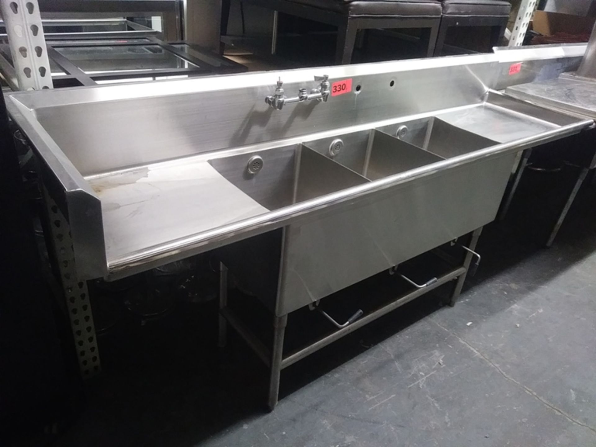 """Lot 330 - 3 COMPARTMENT STAINLESS STEEL SINK (size: 90"""" L X 24"""" D X 44"""" H)"""