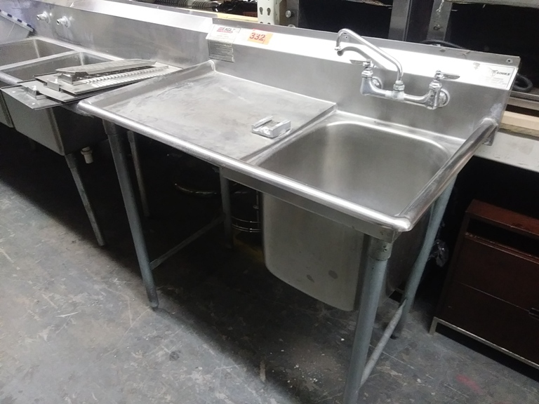 """Lot 332 - STAINLESS STEEL SINK BY EAGLE GROUP (size: 43"""" L X 25.5"""" D X 43.5"""" H)"""