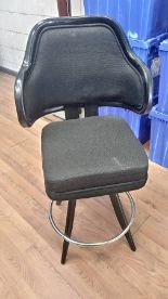 """Lot 394 - BLACK LOUNGE CHAIRS (SHORT STOOLS) W/ ARM & FOOTREST (X MONEY) (40"""" TOTAL H X 24"""" H FROM SEAT..)"""