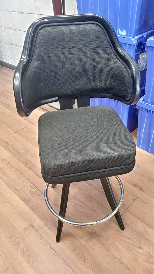 """Lot 395 - BLACK LOUNGE CHAIRS (SHORT STOOLS) W/ ARM & FOOTREST (X MONEY) (40"""" TOTAL H X 24"""" H FROM SEAT..)"""