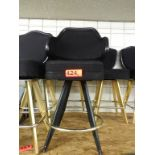 """Lot 424 - BLACK LOUNGE CHAIRS (SHORT STOOLS) W/ ARM & FOOTREST (X MONEY) (42"""" TOTAL H X 23"""" H FROM SEAT..)"""