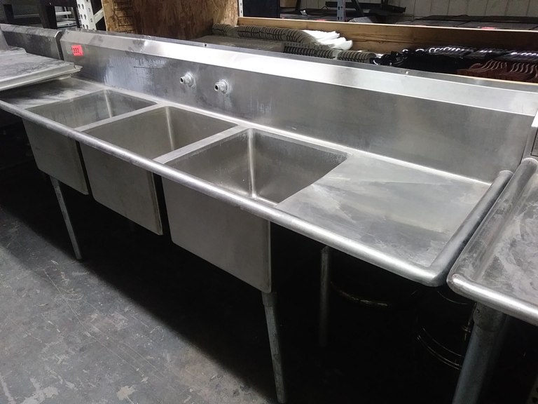 """Lot 331 - 3 COMPARTMENT STAINLESS STEEL SINK (size: 94"""" L X 25"""" D X 44.5"""" H)"""
