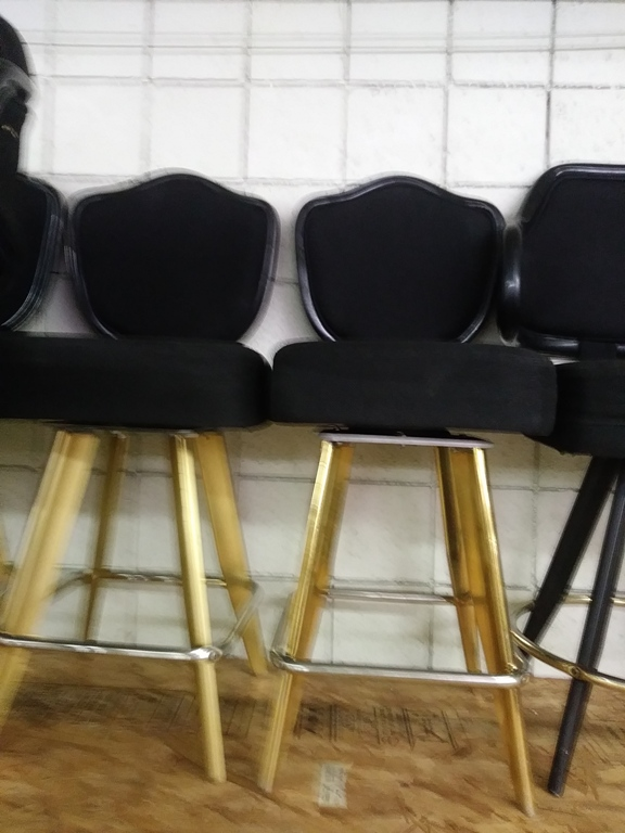 """Lot 425 - BLACK LOUNGE CHAIRS (SHORT STOOLS) W/ ARM & FOOTREST (X MONEY) (38"""" TOTAL HEIGHT X 24"""" HEIGHT.."""