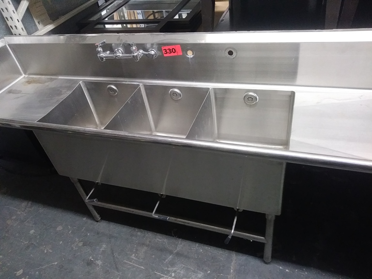 "Lot 330 - 3 COMPARTMENT STAINLESS STEEL SINK (size: 90"" L X 24"" D X 44"" H)"
