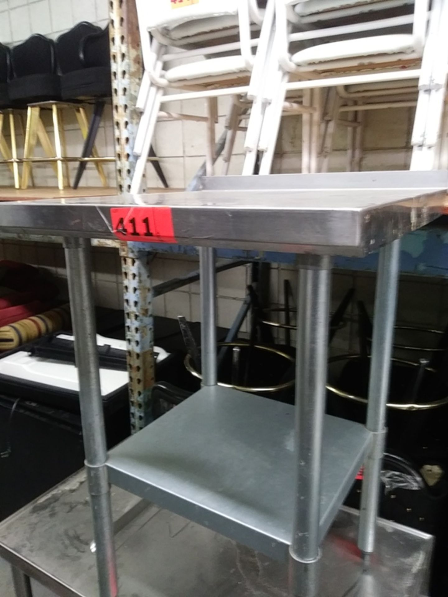 "Lot 411 - 2 FT STAINLESS STEEL PREP TABLE (24""L X 24""D X 34.5""H)"