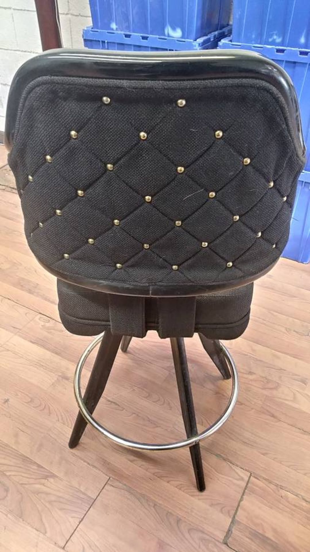 "Lot 395 - BLACK LOUNGE CHAIRS (SHORT STOOLS) W/ ARM & FOOTREST (X MONEY) (40"" TOTAL H X 24"" H FROM SEAT..)"