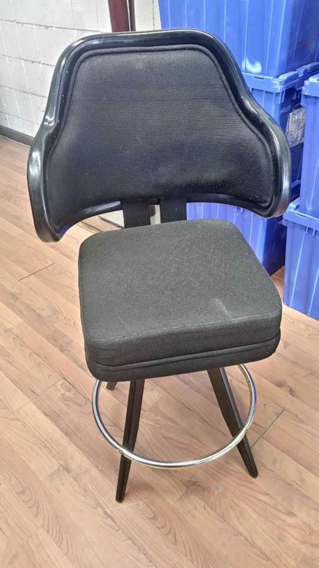 """Lot 403 - BLACK LOUNGE CHAIRS (SHORT STOOLS) W/ ARM & FOOTREST (X MONEY) (40"""" TOTAL H X 24"""" H FROM SEAT..)"""
