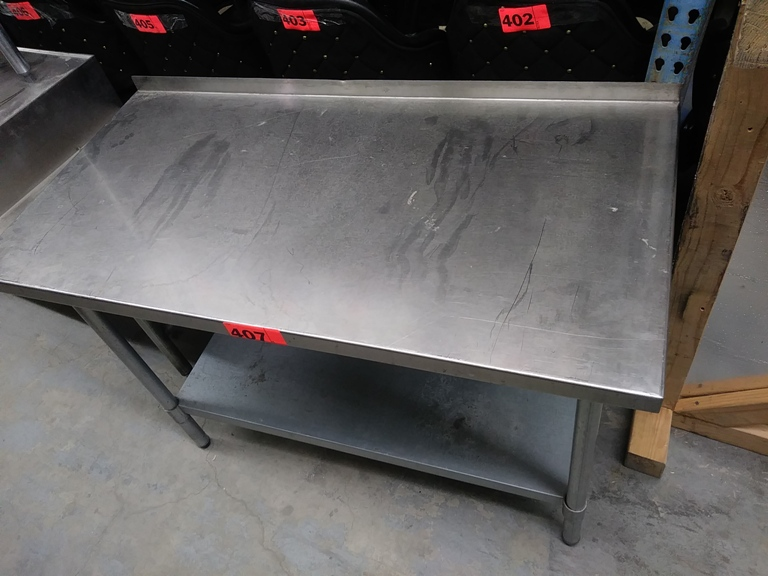 "Lot 404 - 4 FT STAINLESS STEEL PREP TABLE (48""L X 24""D X 34.5""H)"