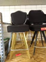 "Lot 425 - BLACK LOUNGE CHAIRS (SHORT STOOLS) W/ ARM & FOOTREST (X MONEY) (38"" TOTAL HEIGHT X 24"" HEIGHT.."