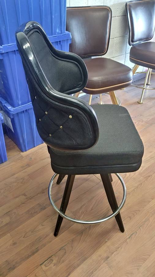 "Lot 354 - BLACK LOUNGE CHAIRS (SHORT STOOLS) W/ ARM & FOOTREST (X MONEY) (40"" TOTAL H X 24"" H FROM SEAT..)"