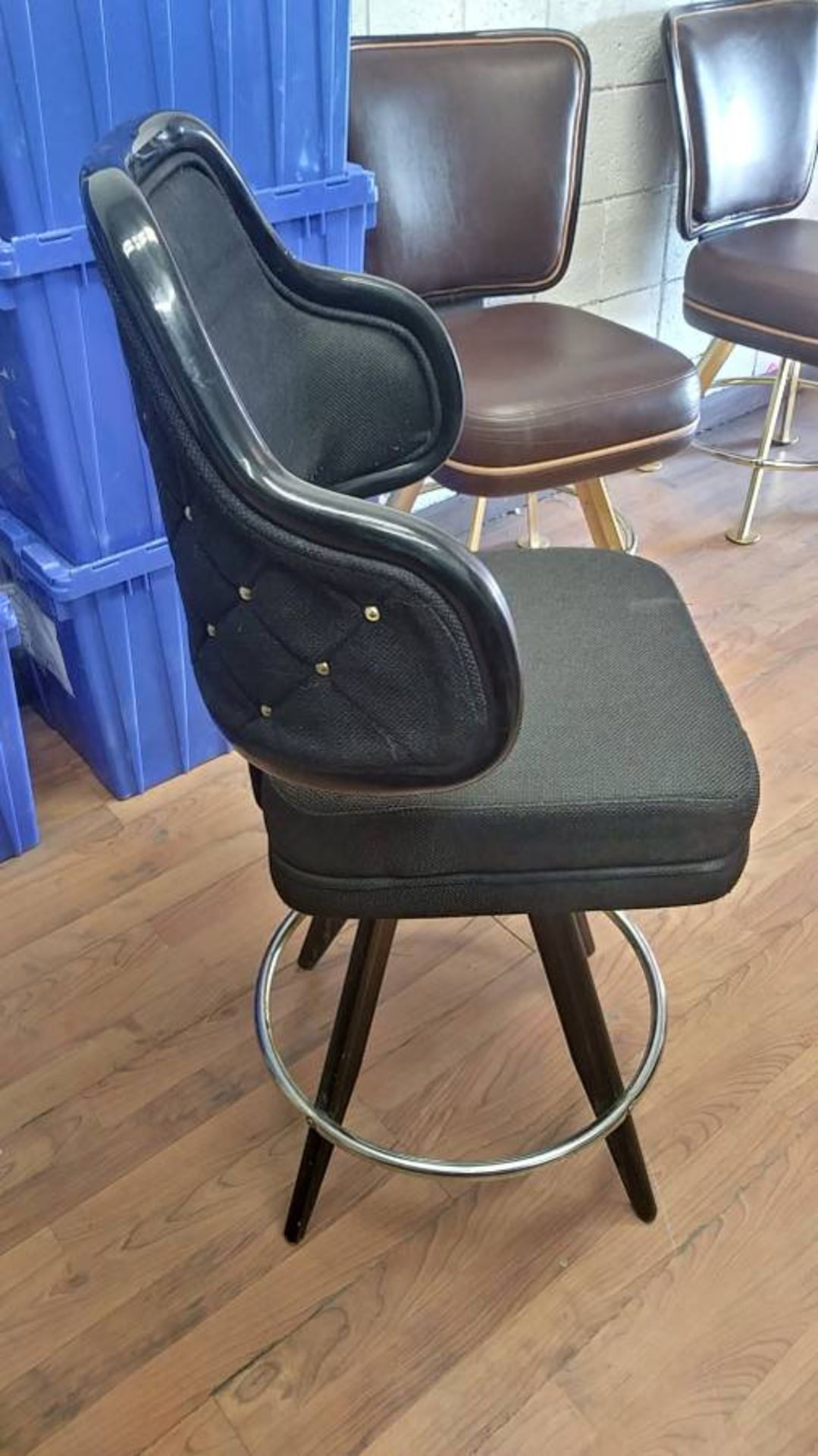 "Lot 349 - BLACK LOUNGE CHAIRS (SHORT STOOLS) W/ ARM & FOOTREST (X MONEY) (40"" TOTAL H X 24"" H FROM SEAT..)"