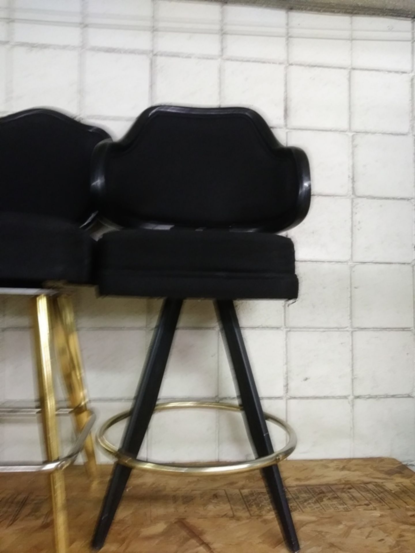 "Lot 424 - BLACK LOUNGE CHAIRS (SHORT STOOLS) W/ ARM & FOOTREST (X MONEY) (42"" TOTAL H X 23"" H FROM SEAT..)"