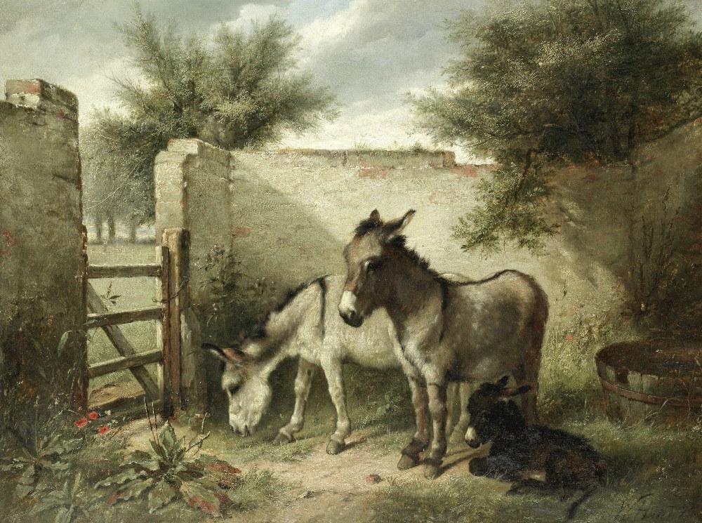 Lot 44 - Walter Hunt (British, 1861-1941) A family of donkeys