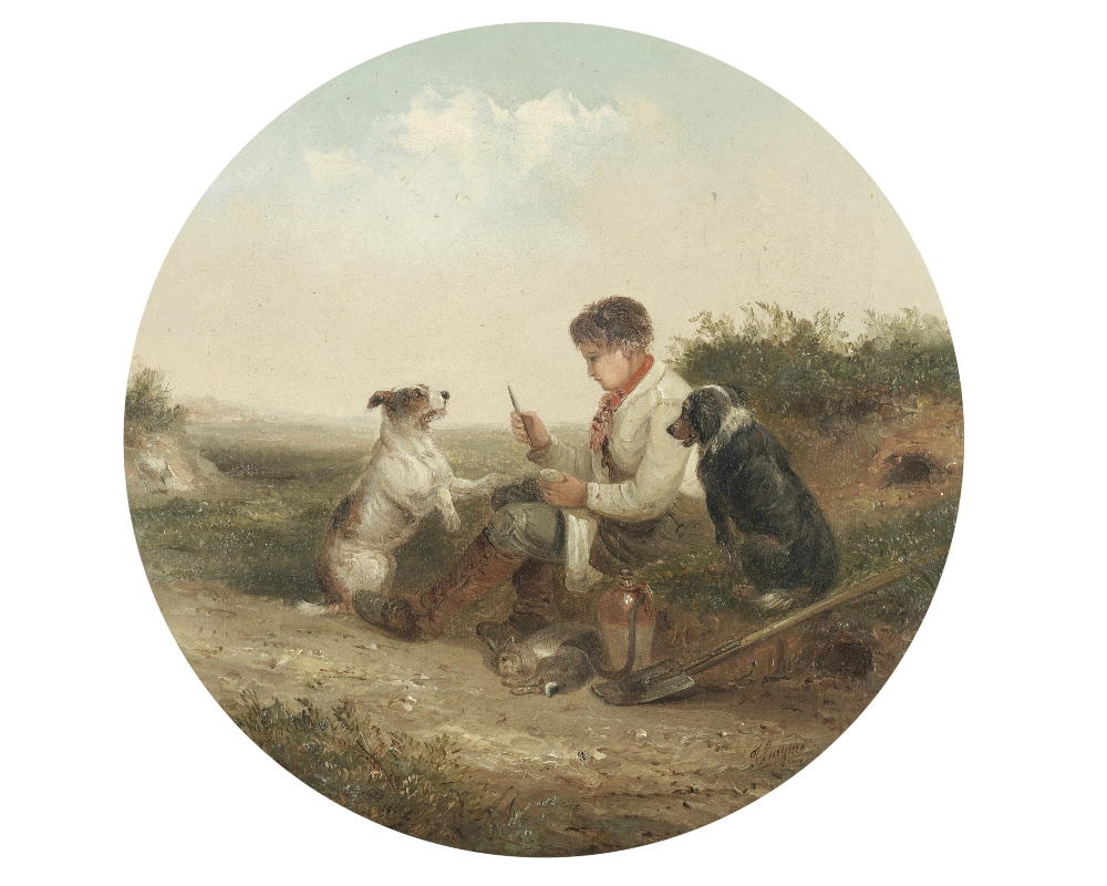 Lot 12 - Thomas Smythe (British, 1825-1906) Man's best friend; a pair each 35.5 x 35.5cm (14 x 14in).(2)