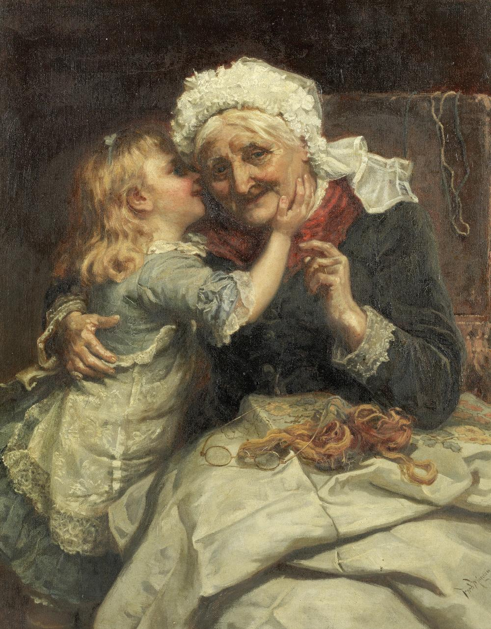 Lot 22 - Frederick Morgan ROI (British, 1847-1927) 'A very great secret'