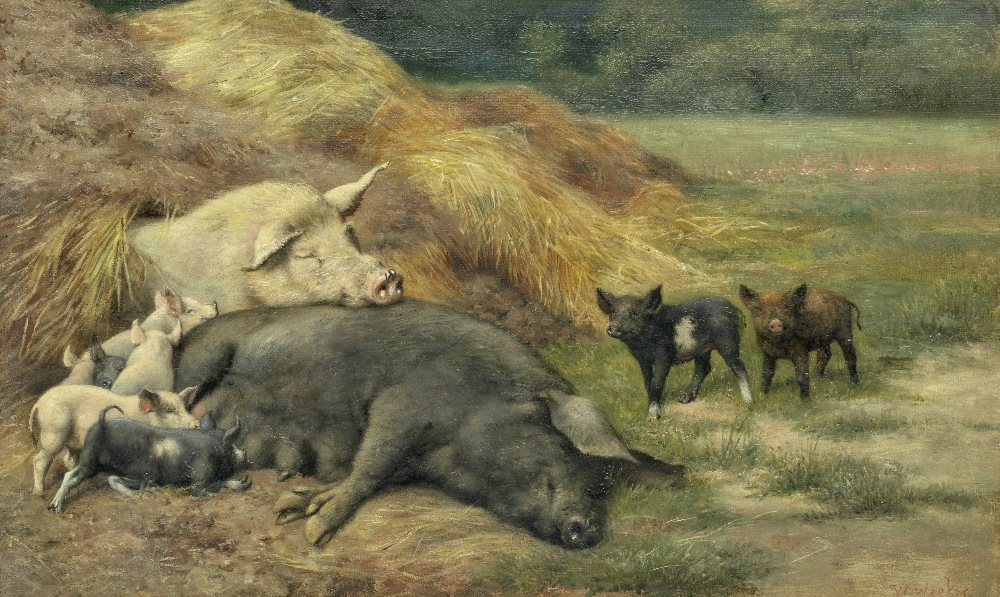 Lot 60 - Herbert William Weekes (British, 1856-1904) Piggy in the middle
