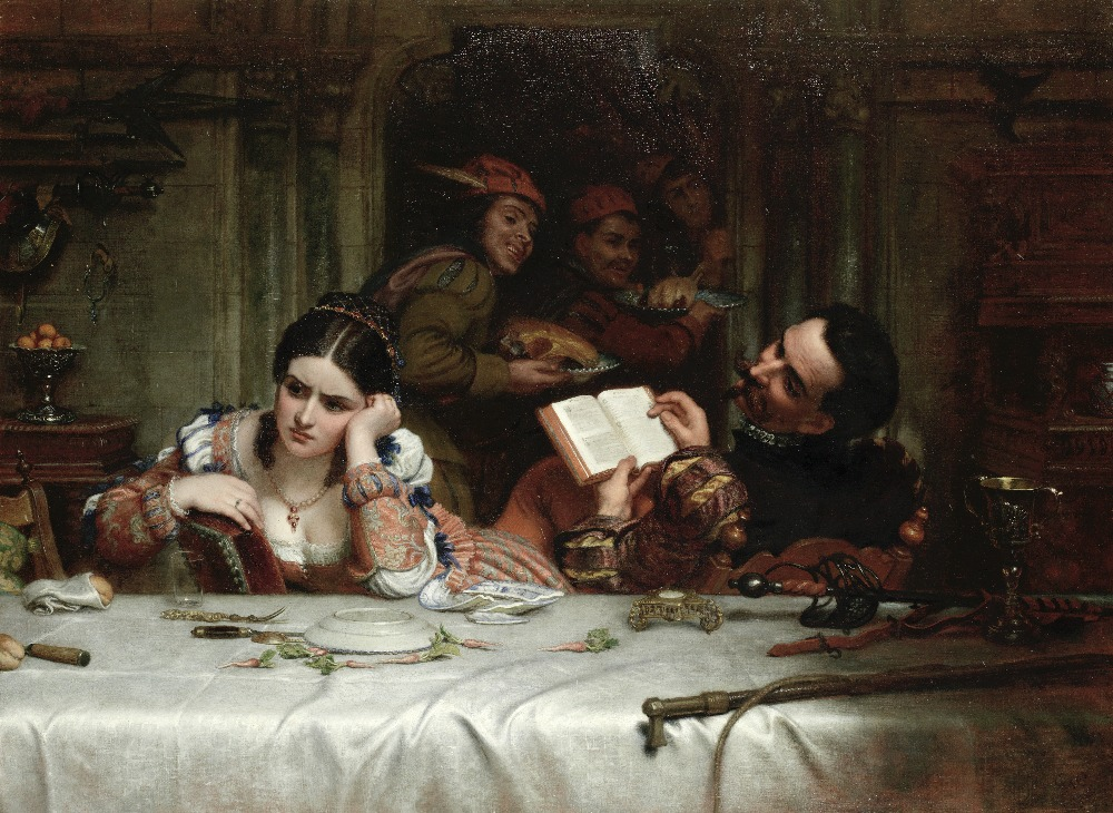 Lot 5 - Charles West Cope (British, 1811-1890) 'Taming the Shrew': 'The meat was well, if you were so con...