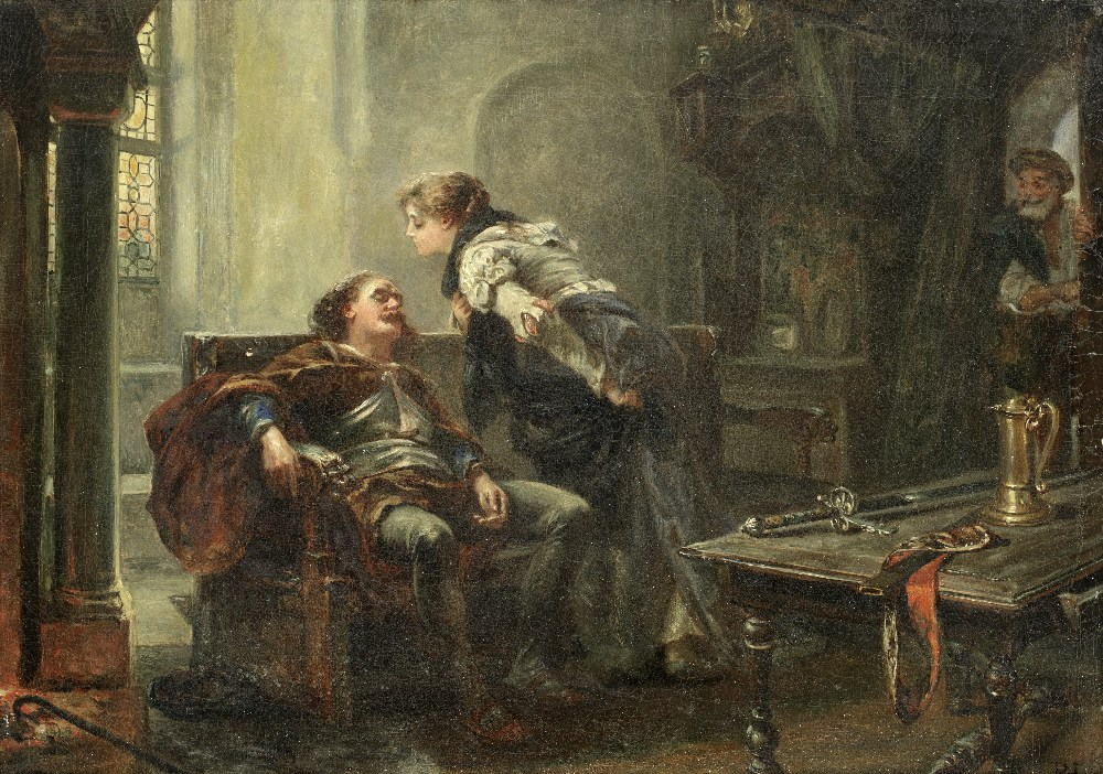 Lot 31 - Robert Alexander Hillingford (British, 1828-1904) 'The Tired Warrior'; together with a scene from...