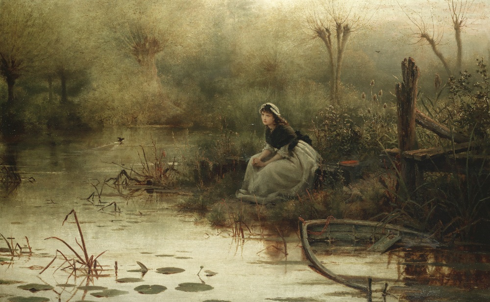 Lot 10 - George Dunlop Leslie RA (British, 1835-1921) 'Willow, Willow. 'The fresh streams ran by her and m...
