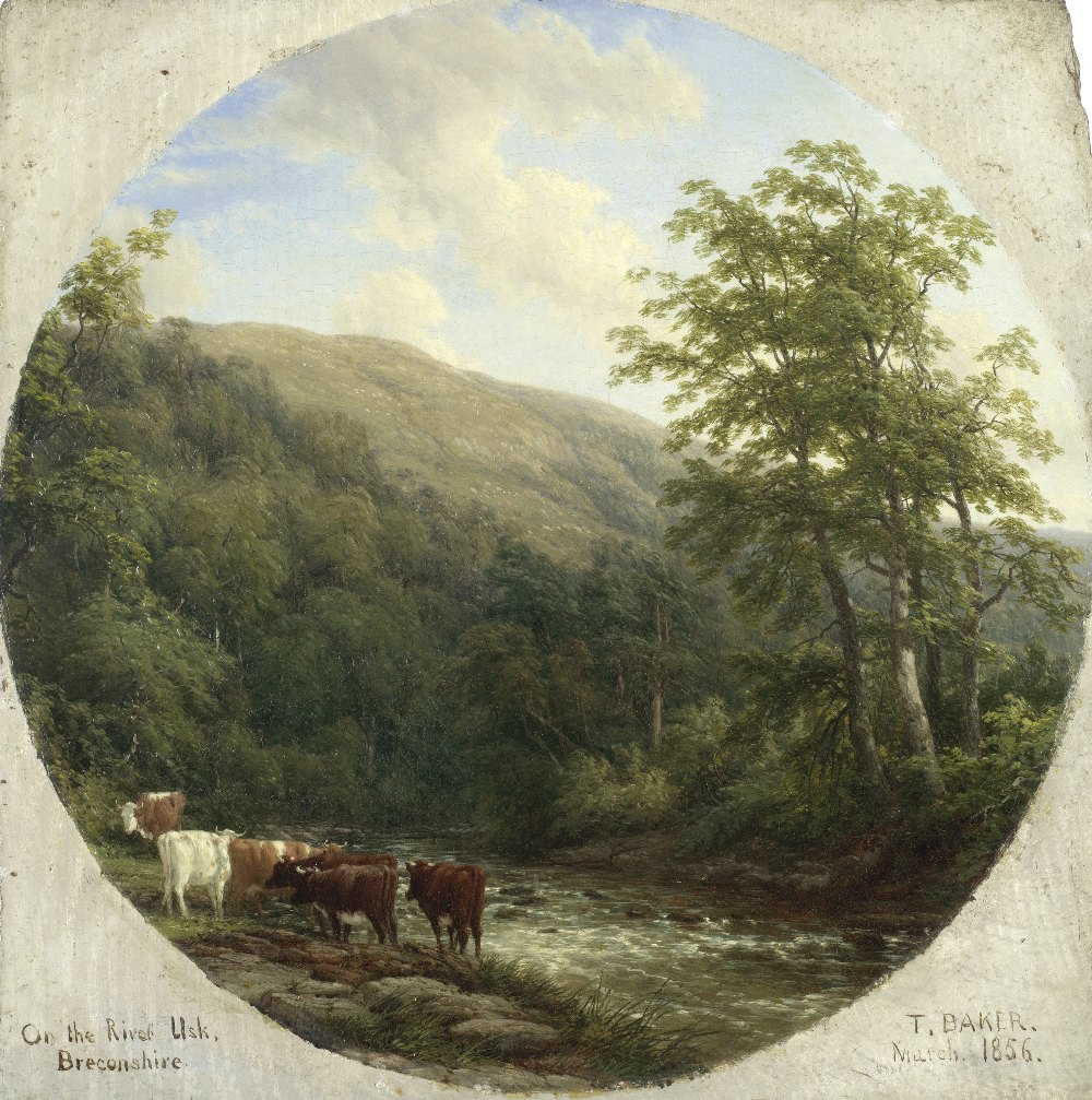 Lot 13 - Thomas Baker of Leamington (British, 1809-1869) 'On the Usk, Breconshire'