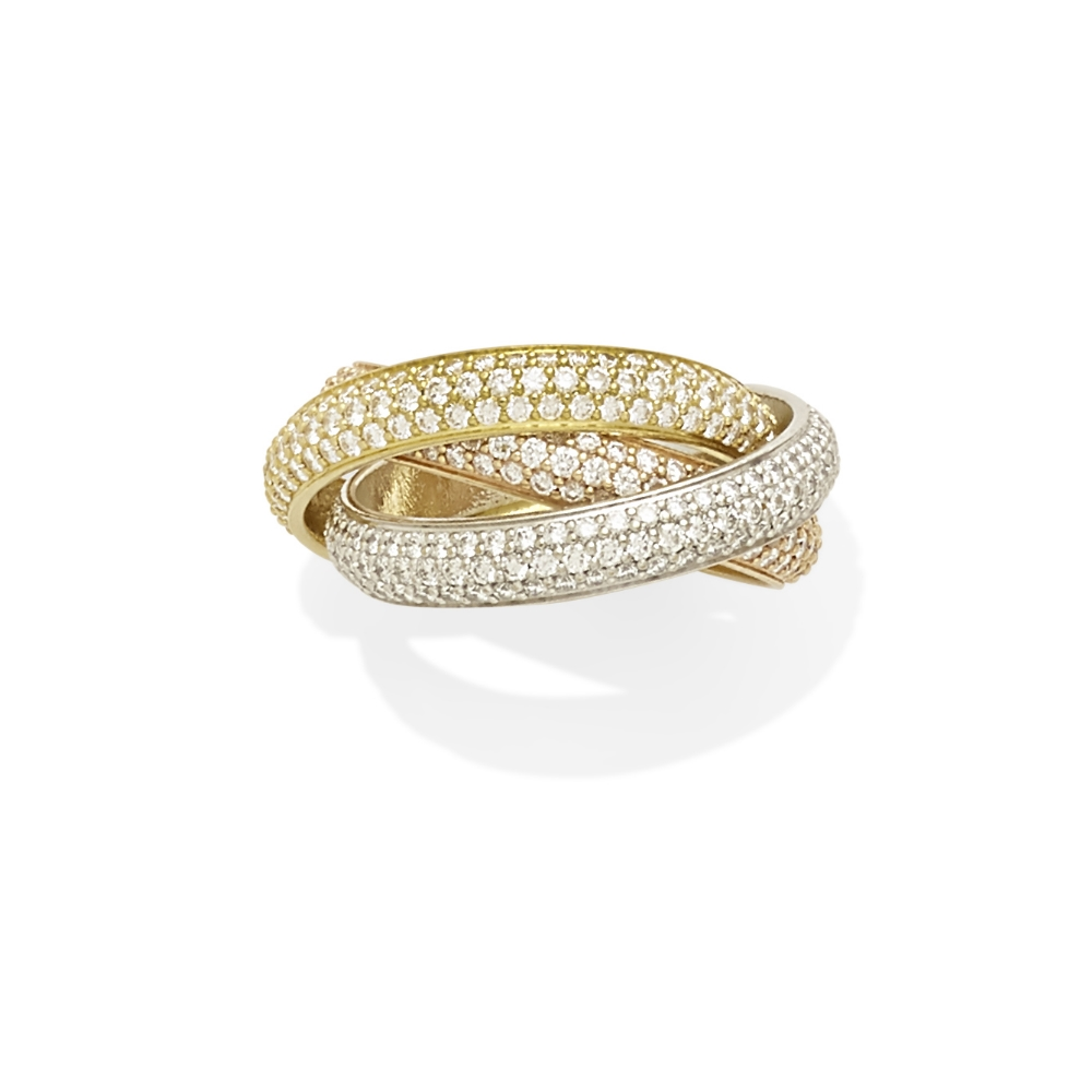 Lot 25 - A diamond 'Trinity' rolling ring, Cartier