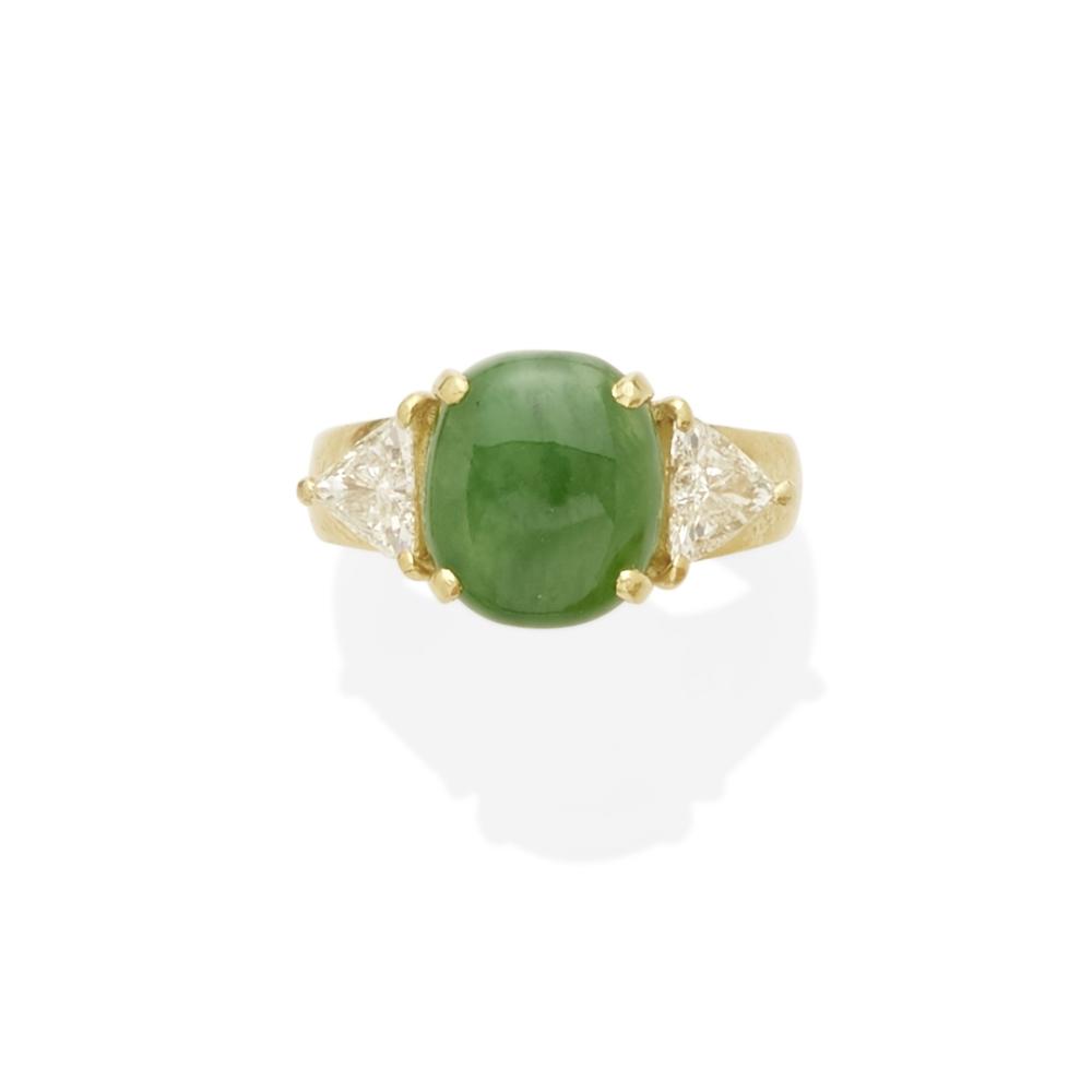 Lot 21 - A jadeite and diamond ring