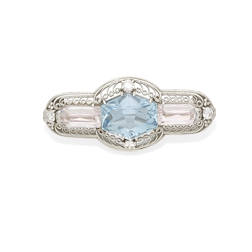 Lot 49 - An aquamarine and kunzite brooch, Tiffany & Co.,