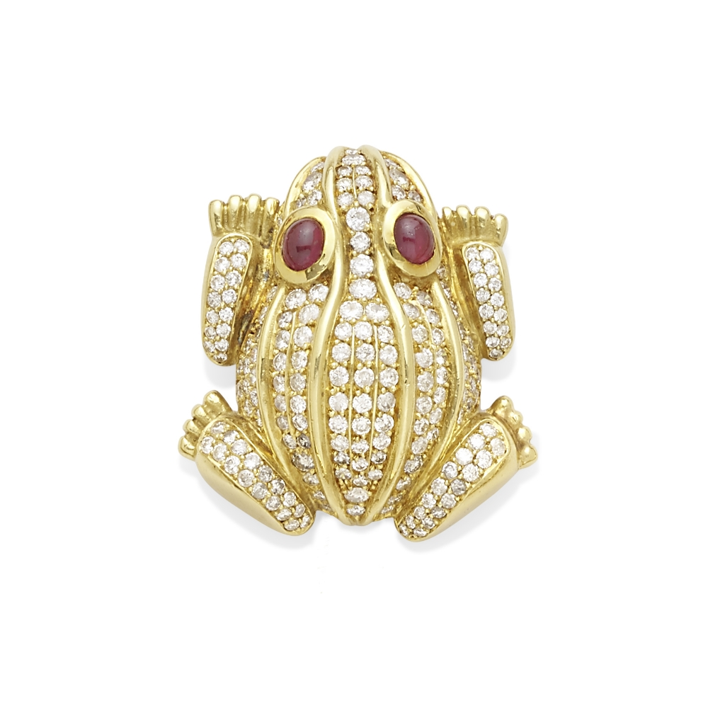 Lot 6 - A diamond and ruby frog brooch, Tadini