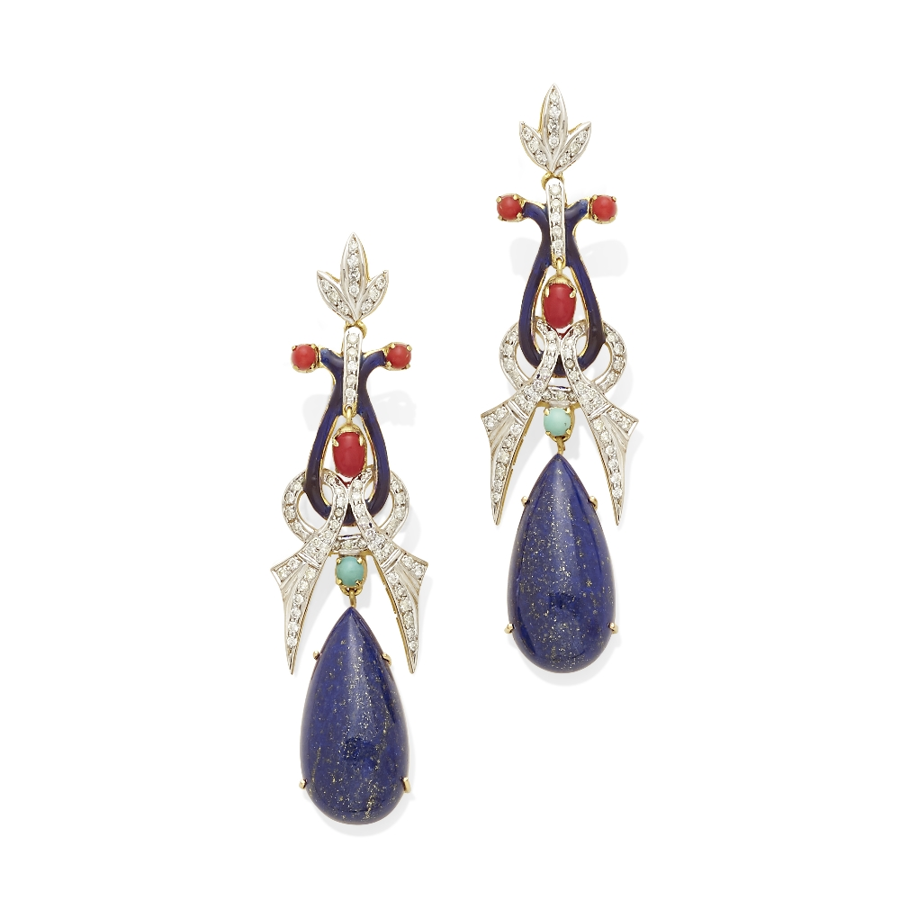 Lot 24 - A pair of diamond, lapis lazuli, coral and turquoise ear pendants
