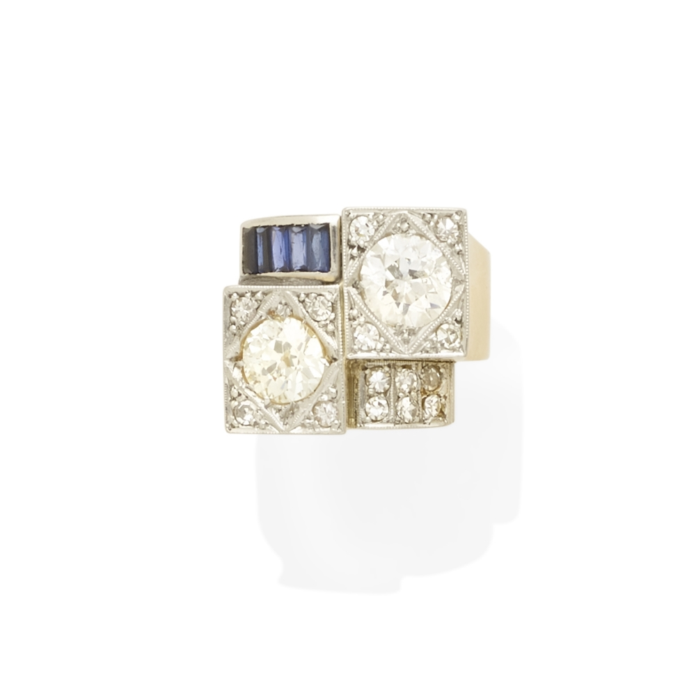 Lot 15 - A diamond and synthetic sapphire ring