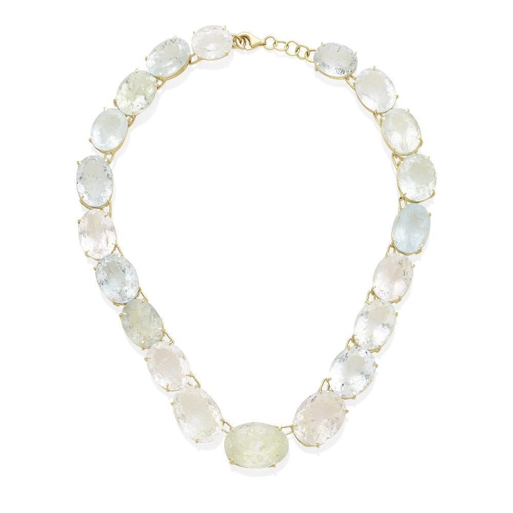 Lot 60 - A multi-color beryl rivière necklace