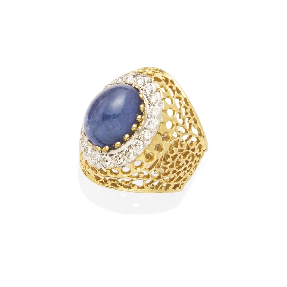 Lot 14 - A tanzanite and diamond ring