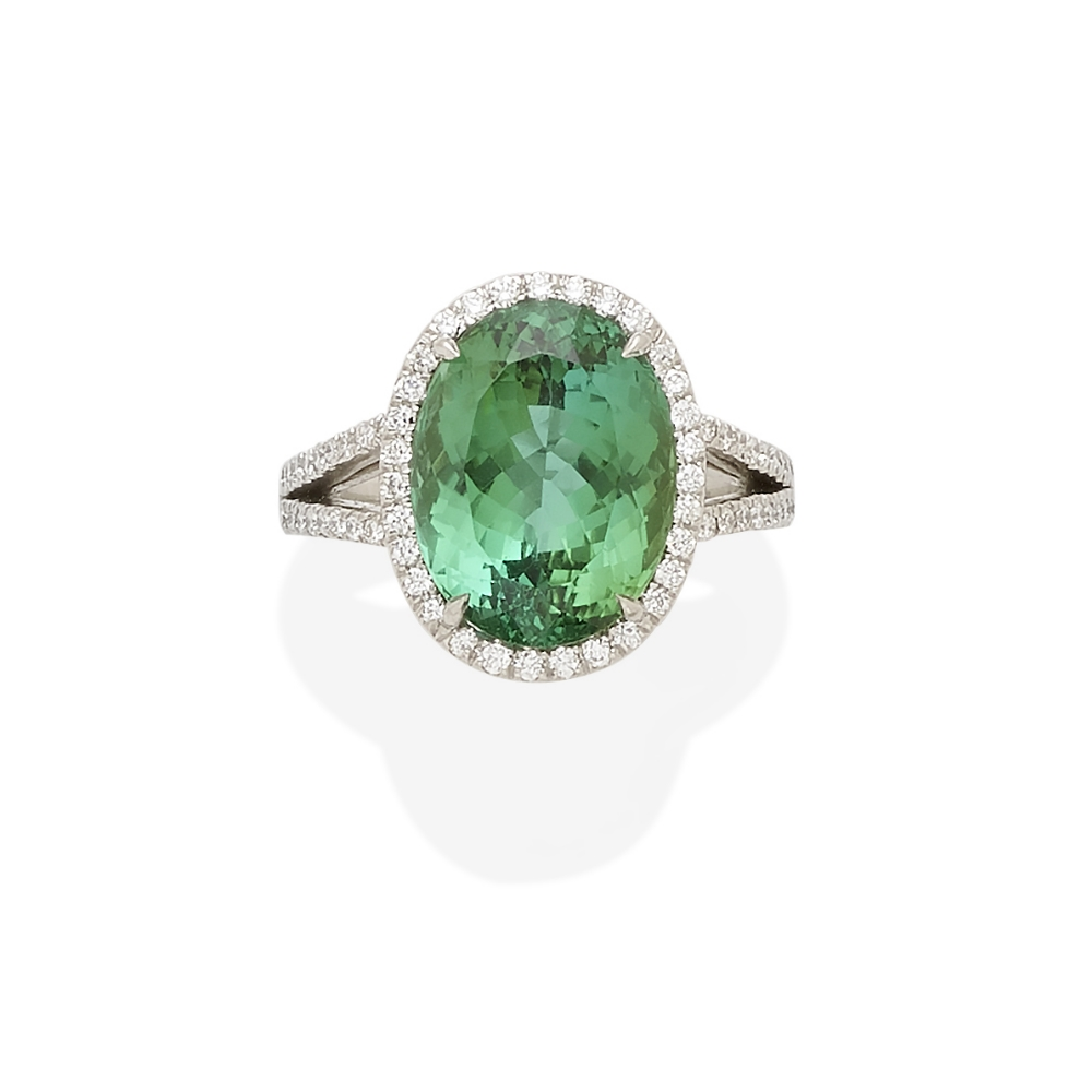 Lot 41 - A green tourmaline and diamond ring, Tiffany & Co.