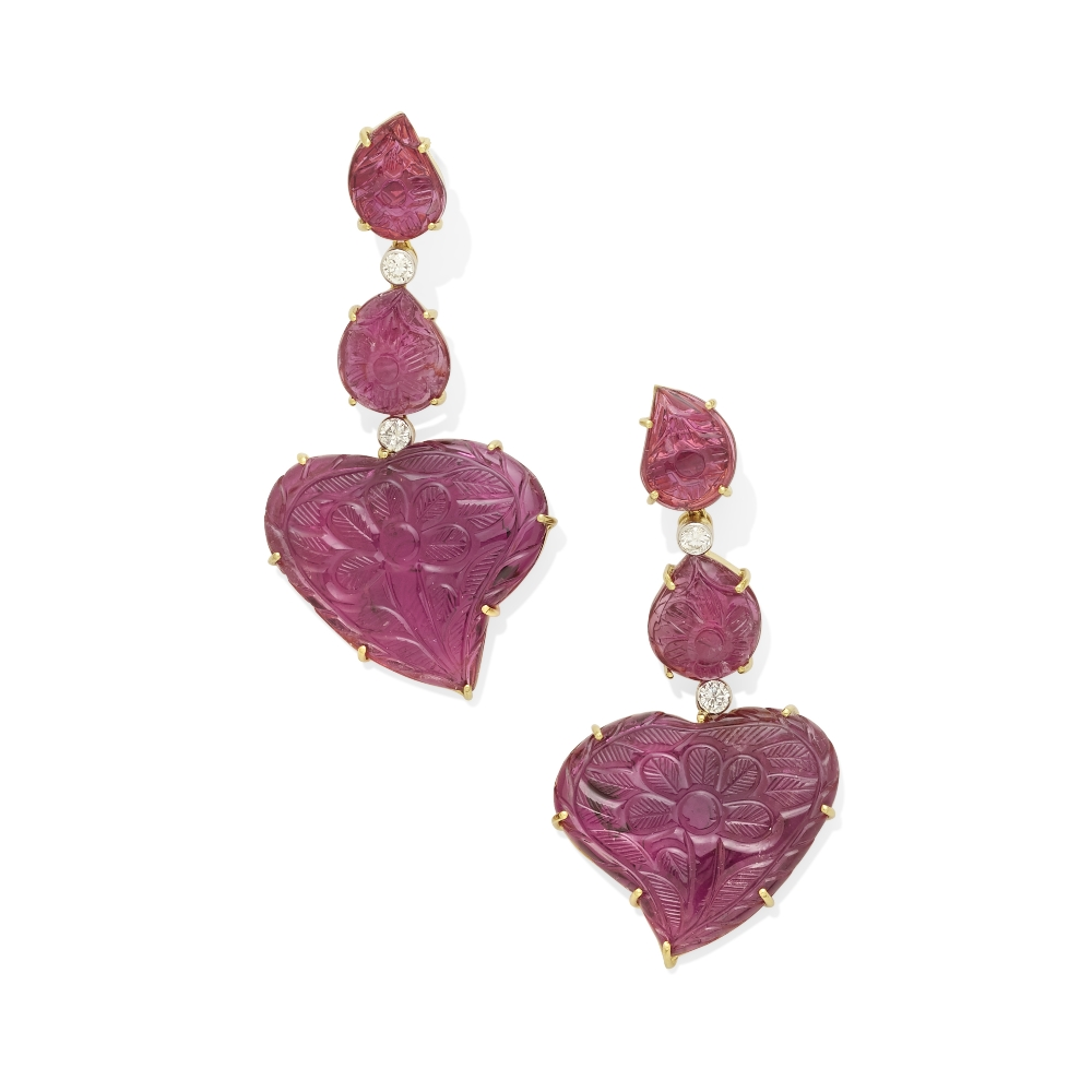 Lot 16 - A pair of pink tourmaline and diamond earrings