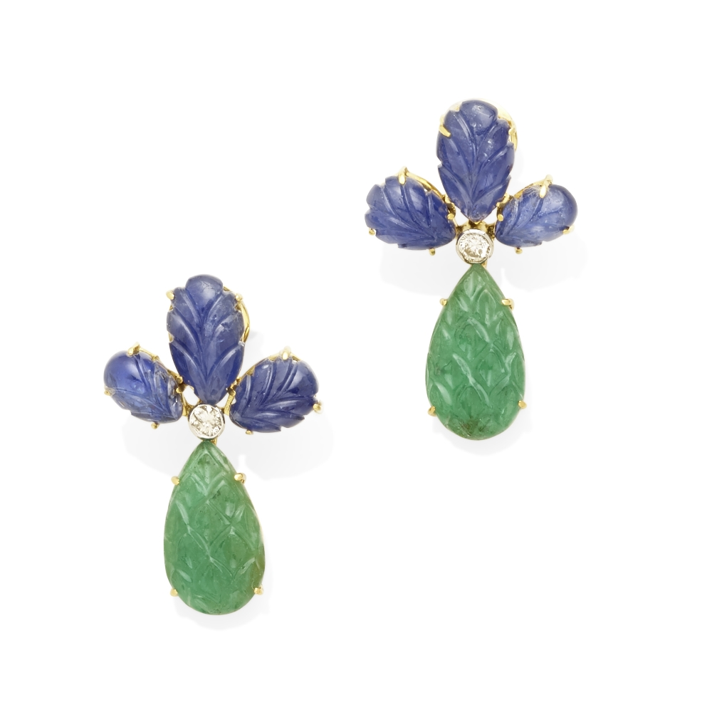 Lot 8 - A pair of emerald, sapphire and diamond pendant earrings