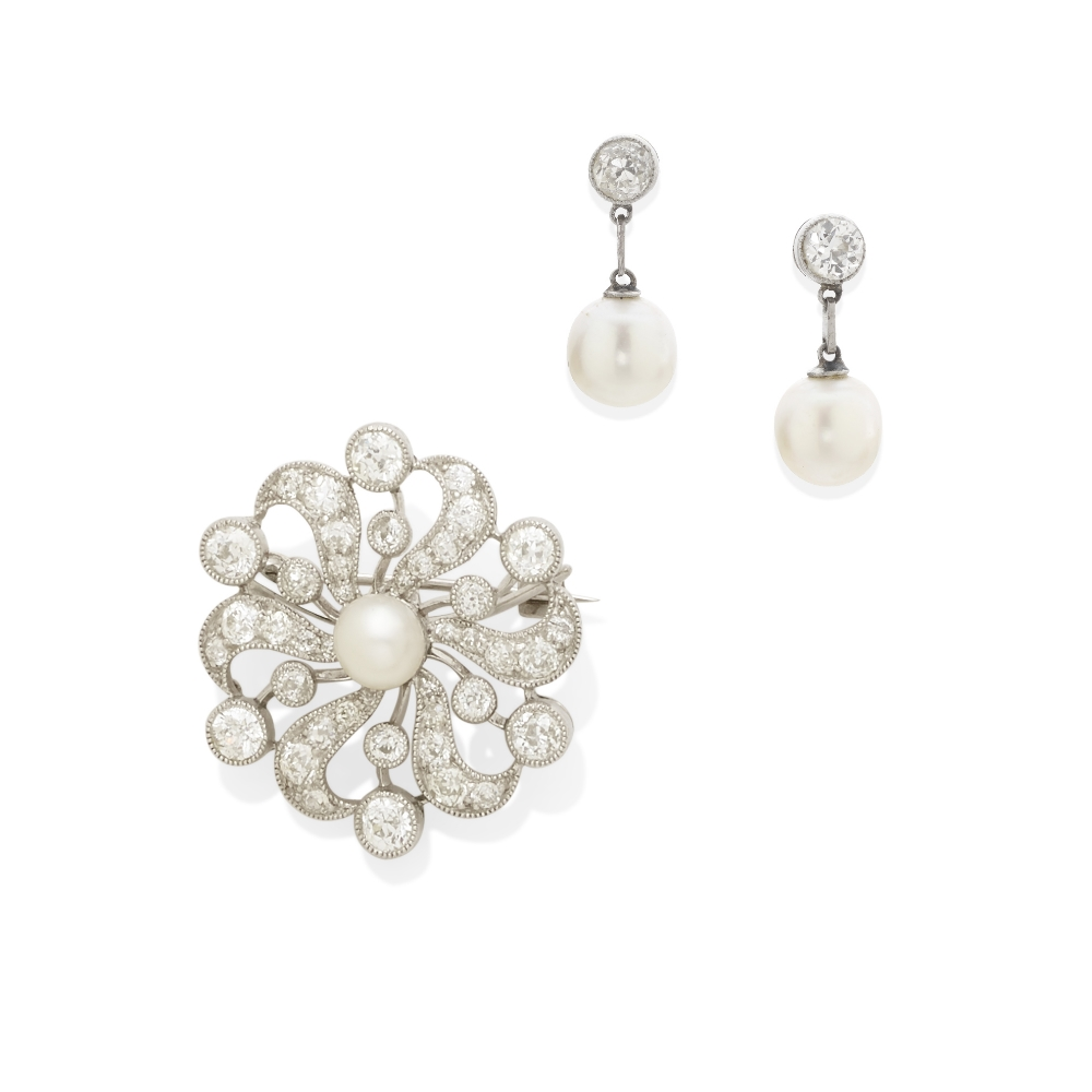 Lot 42 - A cultured pearl and diamond brooch together with a pair of cultured pearl and diamond earrings