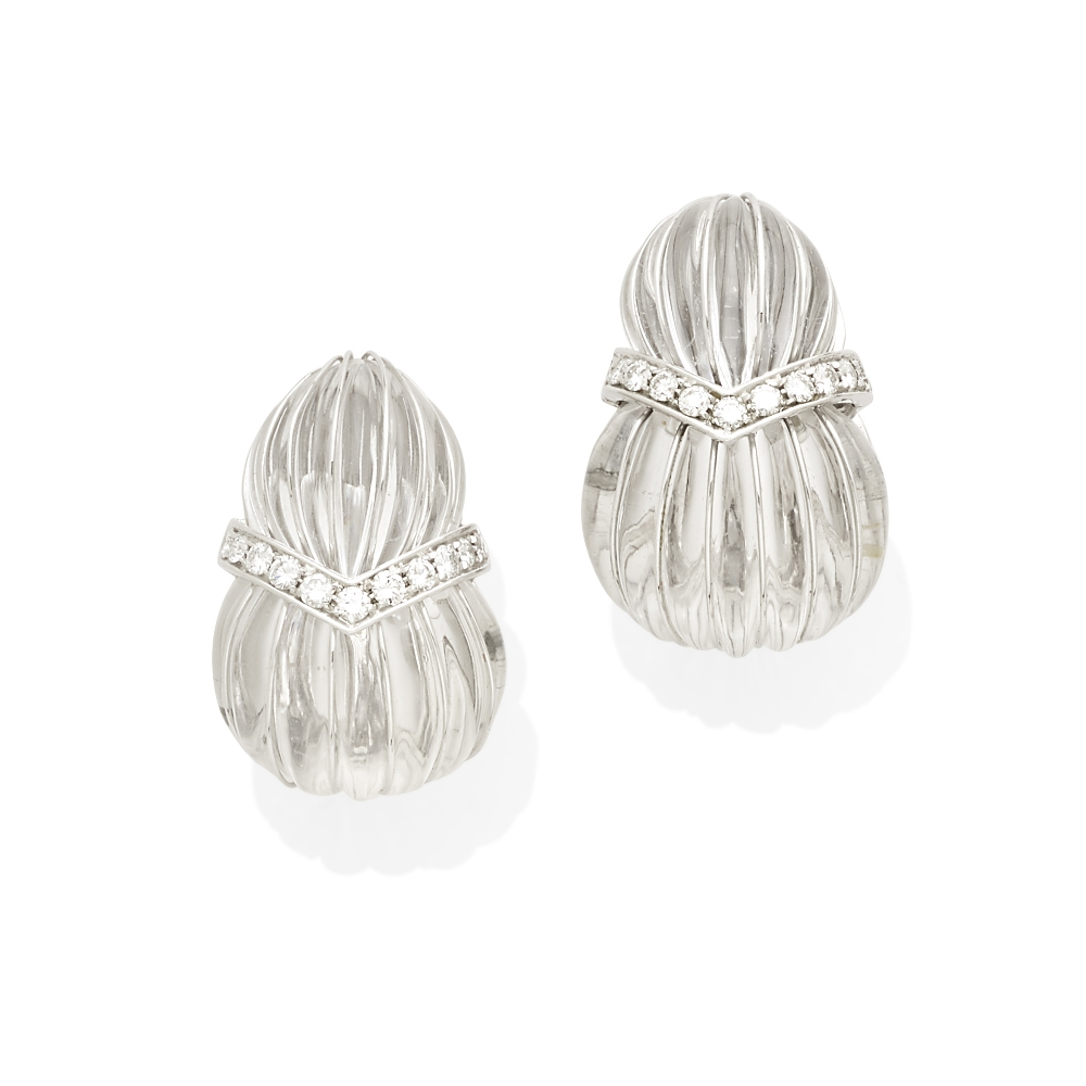 Lot 47 - A pair of carved rock crystal and diamond ear clips, David Webb